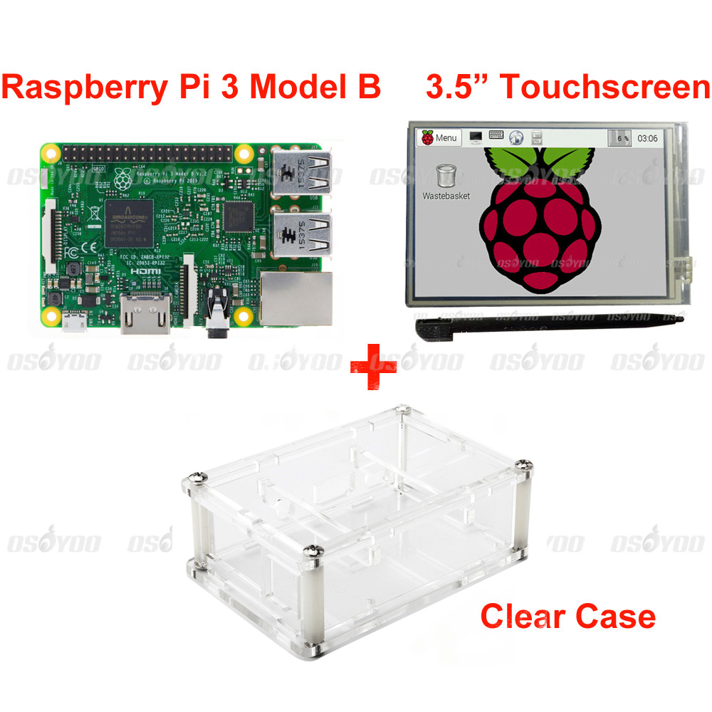 Raspberry Pi 3 Model B Board +3.5 LCD Touch Screen Display with Stylus + Acrylic Case Free Shipping transparent acrylic case protective shell cover box with mini cooling fan for raspberry pi 2 3 model b and b b plus board