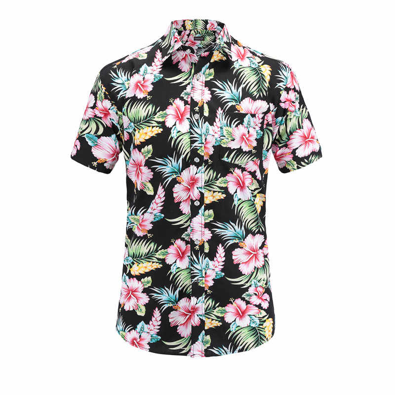 bb29d866d58 Detail Feedback Questions about Dioufond Brand Floral Print Short Sleeve  Men Shirts Summer Hawaiian Beach Cotton Tops Fashion Slim Fit Pocket Male  Clothing ...