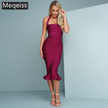 MEQEISS Bandage Dress Sexy Slash Neck 2018 Summer Spaghetti Strap Elegant Evening Party Mid-Calf Club Dresses