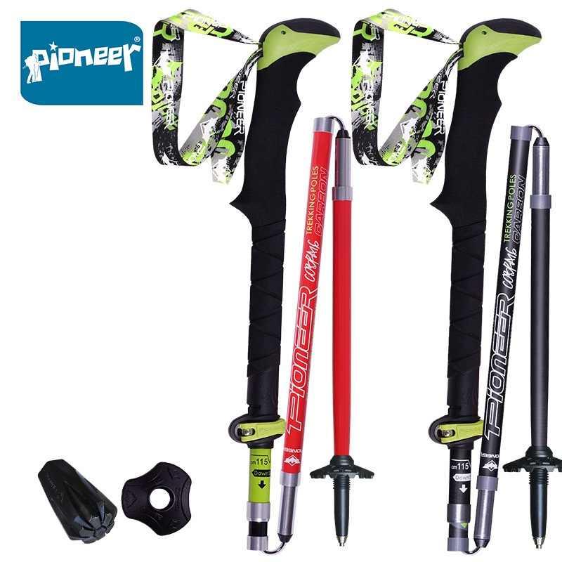 1 pezzo Pioneer 100% In Fibra di Carbonio Trekking Pole Ultraleggero Pieghevole Pieghevole Trail Corsa e Jogging Bastone Da Passeggio per il Campeggio Esterno