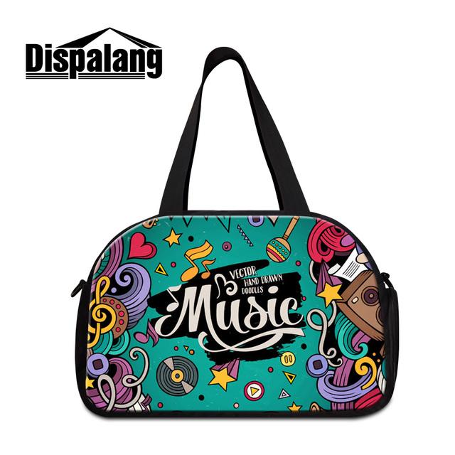Dispalang creative nota musical impressão sacos mulheres novo e elegante duffle bagagem de viagem feminino bolsa com sapatos independentes unidade