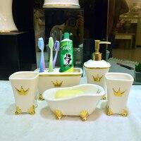 Модные Ванная комната керамические 5 шт. набор туалет комплект поставки чашка + держатель зубной щетки + Лосьон бутылка + Ванна мыльница