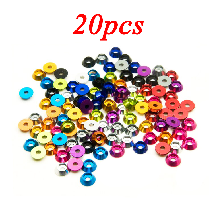 Free Shipping 20PCS M3 Aluminum Alloy Gasket 3mm Colorful Conical Cup Shape Washers For M3 Screw 3mm Screw Spacers