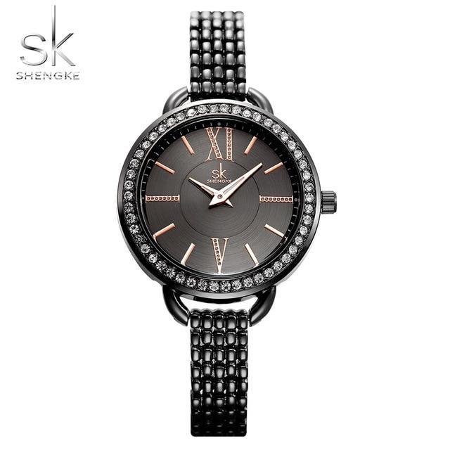 Shengke Jewelry Gifts For Women's Luxury Black Steel Quartz Watch Brand Women Wa