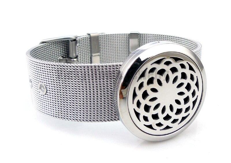 Ronde Argent Fleur De Lotus (30mm) Barcelet Aromathérapie/Huiles Essentielles Diffuseur En Acier Inoxydable Médaillon Bracelet