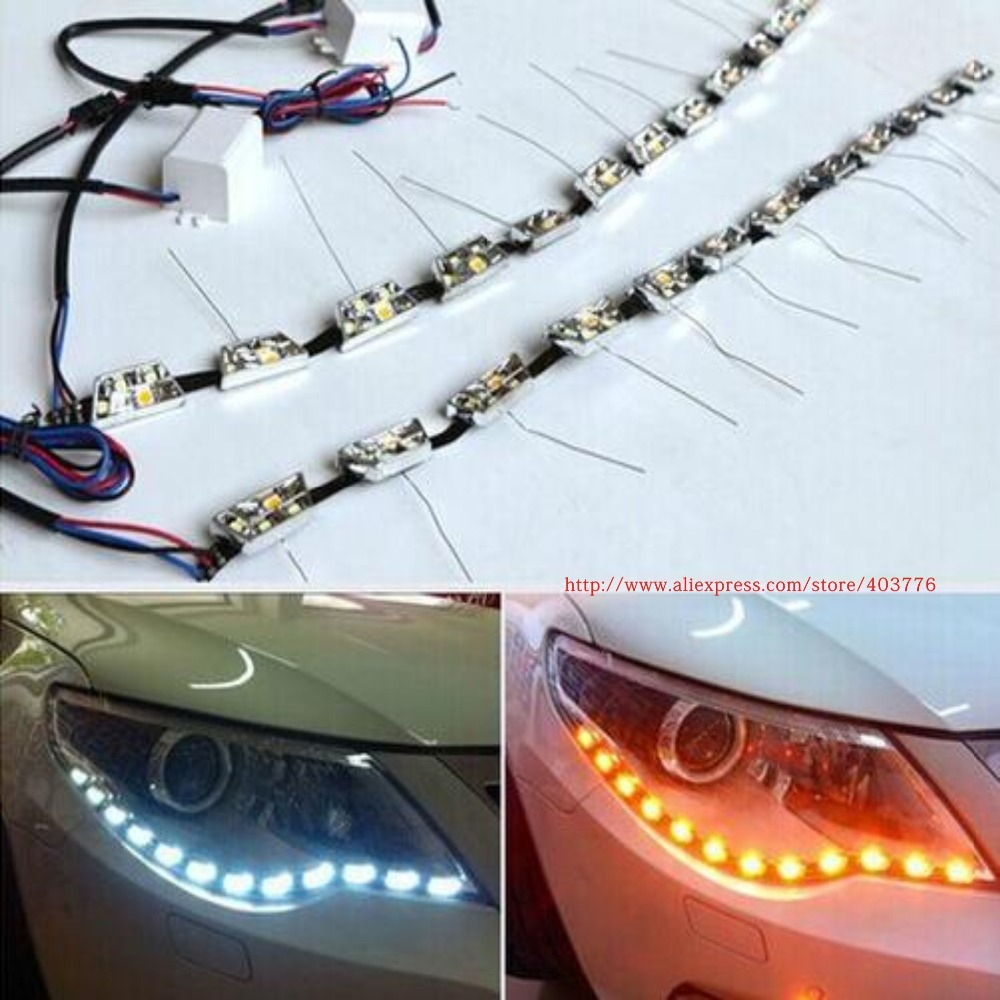 Universal S8 led flexible DRL daytime running light white+ amber flexible dual color DRL free shipping