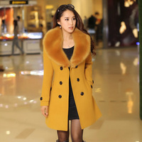 Plus Size 2018 new Winter Womens Double Breasted Big Fur Collar Wool Coat Long Winter Jackets Parka Coats Outerwear High Quality
