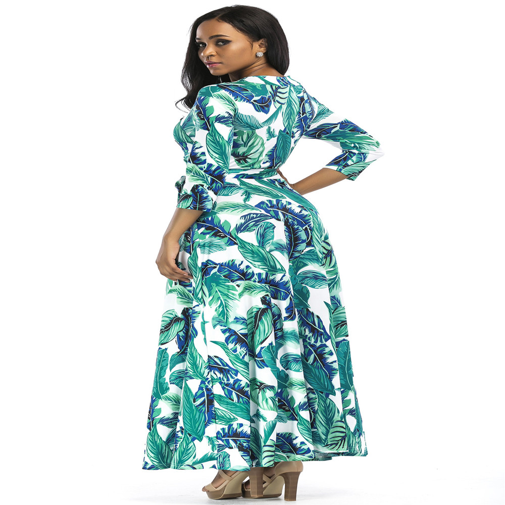 New popular Polish fashion personality temperament long sleeved V neck high waist straight casual print sexy ladies dress in Dresses from Women 39 s Clothing