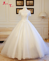 Jark Tozr 2018 Mới Đến Ngắn Sleeve Zipper Up Appliques Beading Pearls Sequin Váy Công Chúa Wedding Vestido Branco