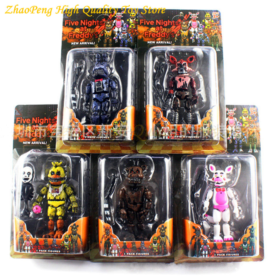 6 Pcs/set Lightening Movable joints Five Nights At Freddy's Action Figure Toys Foxy Freddy Chica PVC Model Dolls With kids toys new arrival five nights at freddy s fnaf action figures toys bonnie foxy freddy fazbear bear pvc figure dolls toys for children