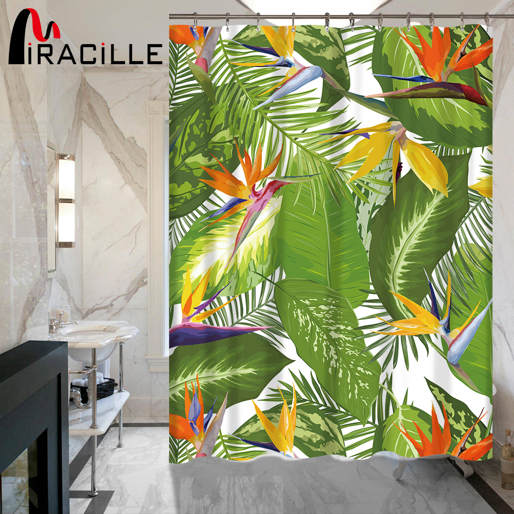 Miracille Tropical Flowers Leaves Printed Waterproof Shower Curtain Home Decorative Fashion Bath Curtains Bathroom Accessories