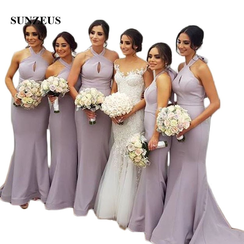 Halter Mermaid Wedding Party Dresses Keyhole Front Sexy Bridesmaid Dresses Long Satin Fo ...