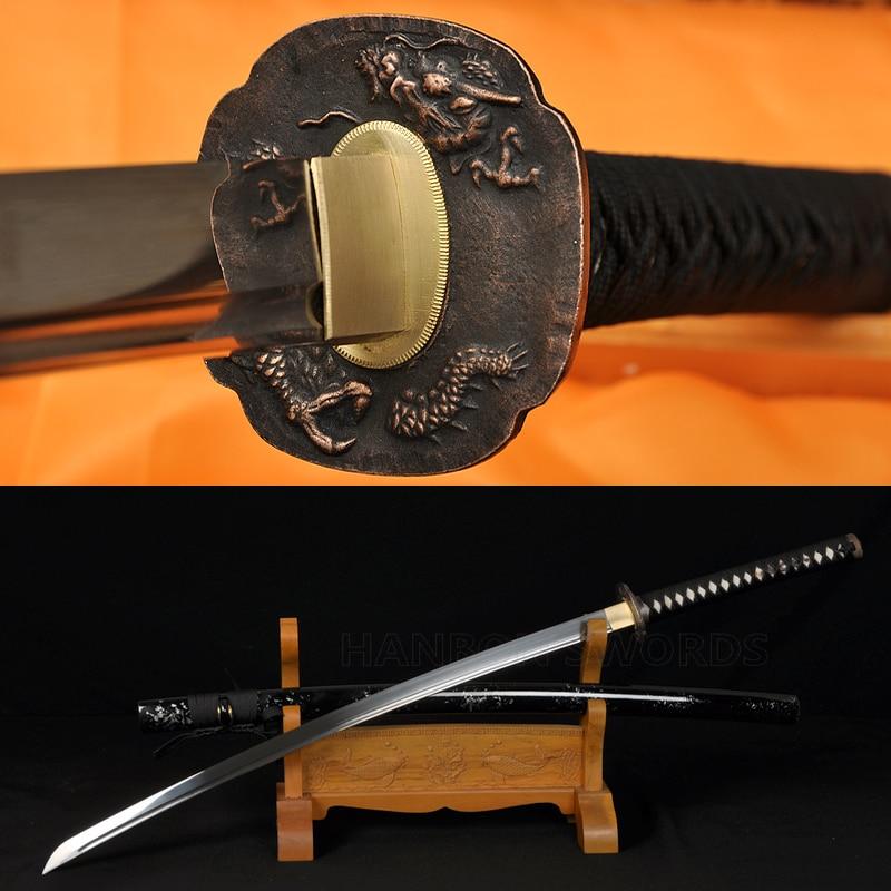 Tamamilə əl işlənmiş Samuray Yapon Qılınc Dragon Katana 1060 - Ev dekoru - Fotoqrafiya 1