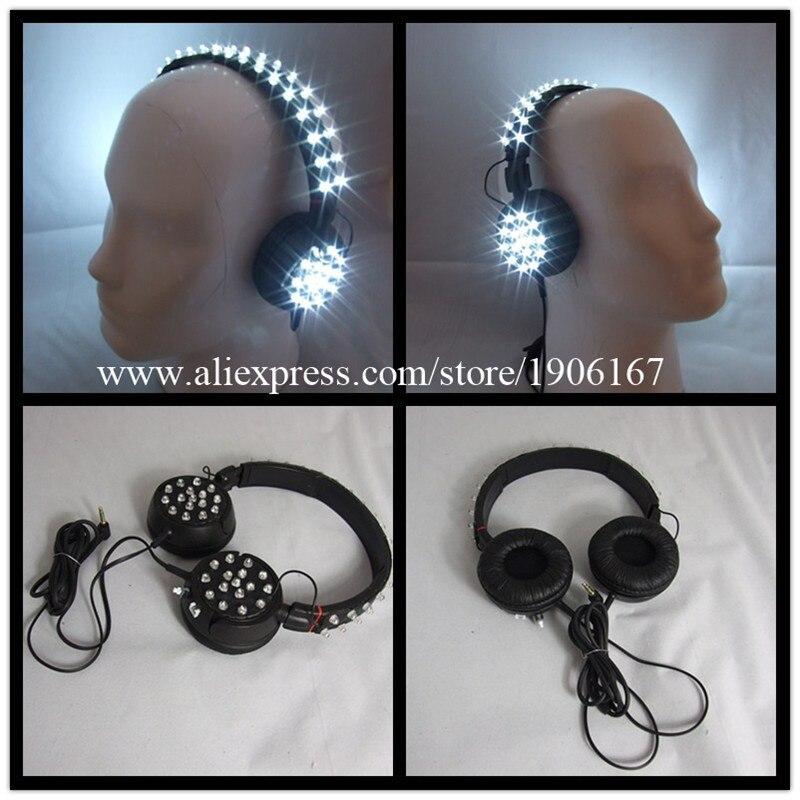 New Design Led Luminous Illuminate Growing Bar DJ Magic Light Voice Control LED Headset Headphone Festive Party Supplies