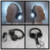 New Design Led Luminous Illuminate Growing Bar DJ Magic Light Voice Control LED Headset Headphone Festive Party Supplies