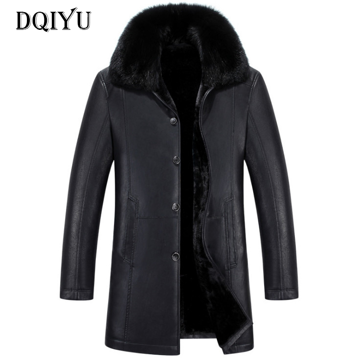 2018 Winter Leather Jacket Men Long Trench Coats New Fashion Fur Collar Single Breasted Men Leather jackets Windproof Coats 5XL цена