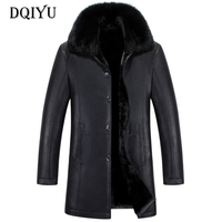 Winter Leather Jacket Men Single Breasted Long Trench Coats New Fashion Real Fur Collar Leather Jackets Male Windproof Coats 5XL