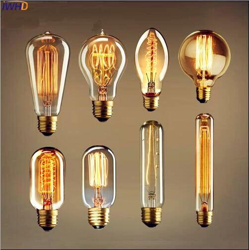 IWHD Bombillas Vintage Edison Bulb E27 Retro Lamp Bulb Ampoules Edison Light Incandescent Bulbs 40W E27 220V G80/G95/ST64/A19
