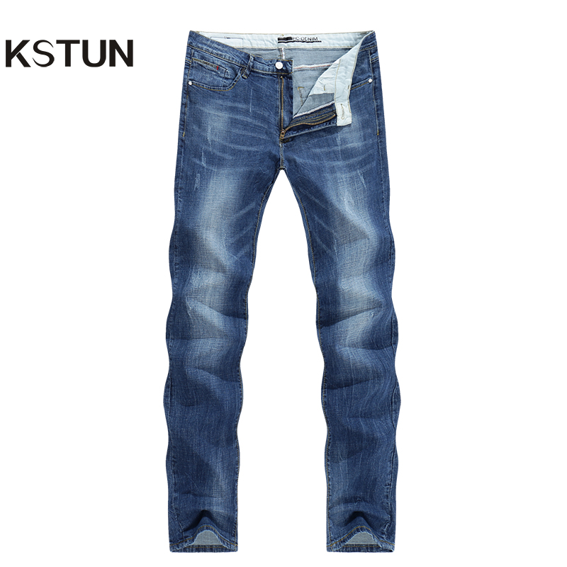 KSTUN Jeans Men Business Casual Summer Straight Slim Blue Jeans Stretch Denim Pants Trousers Classic Direct jean homme regular