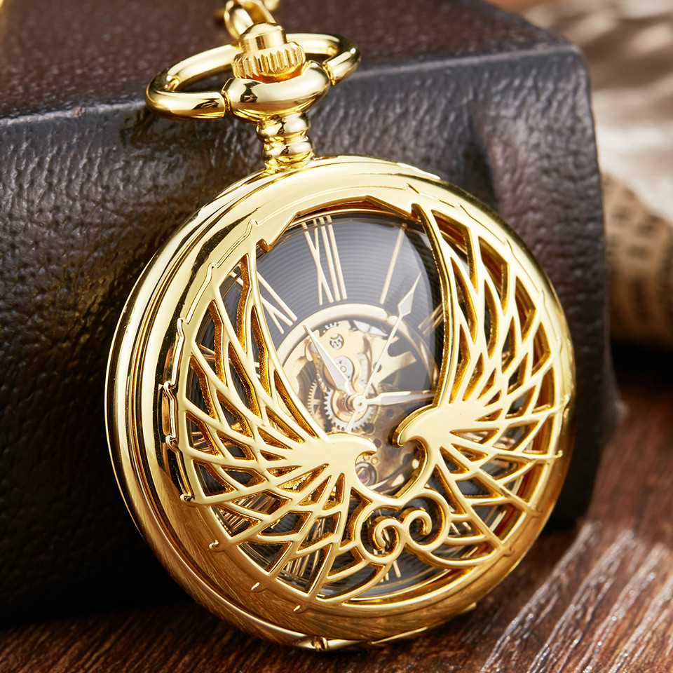Luxury Golden Love Wing Mechanical Pocket Watch Fob Chain Unique  Hollow Design Skeleton Double Side Hand Wind Mechanical Watch