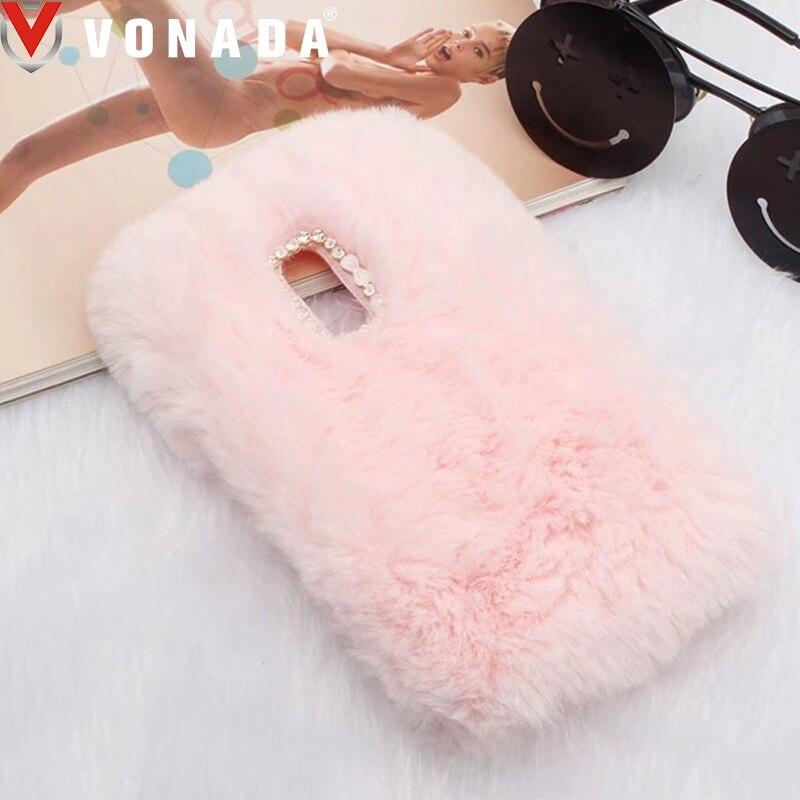 Vonada Fluffy Case for Xiaomi Redmi 4X 4A 3S Note 4X Note 4 Cute Plush Fur TPU Diamond Jewelled Soft Phnoe Back Case Cover
