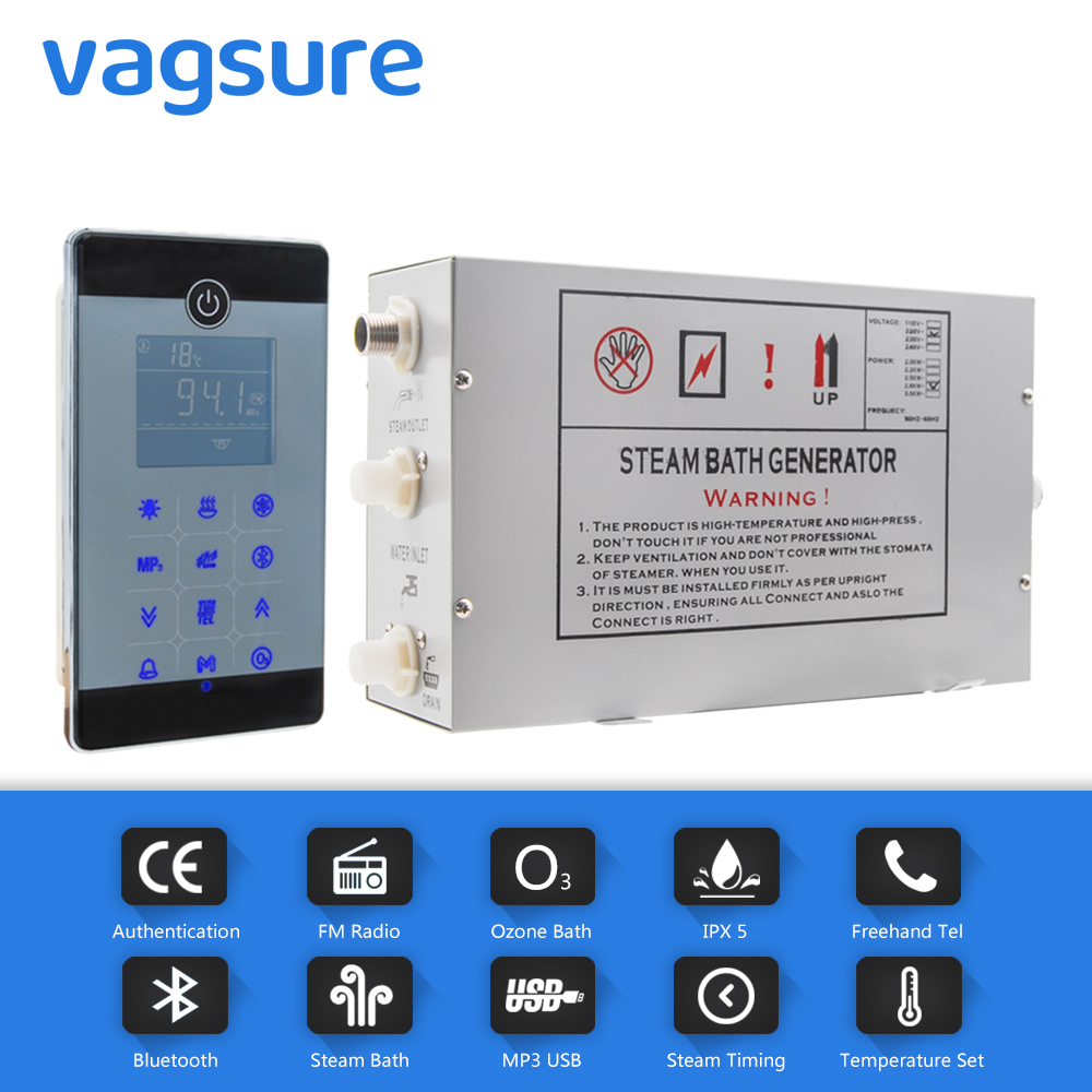 AC 220V/110V 2.8KW typ montowany podłogowy ekran dotykowy LCD Sauna parowa Spa czujnik temperatury w pomieszczeniu kabina prysznicowa Generator