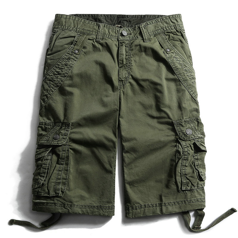 2018 Summer Cotton Tactical Cargo Shorts Men Military Solid Knee Length High Quality Casual Beach Shorts Masculino ...