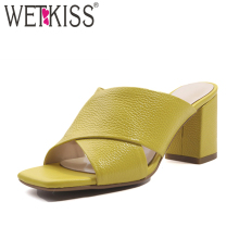 WETKISS High Heels Women Slippers Fashion Casual Ladies Mules Shoes Open Toe Cross Tied Slides Shoes 2019 Cow Leather Footwear