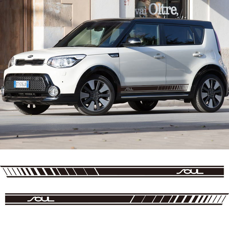 2 PCS Car Side Stripes Side Skirts Graphics Vinyl Sticker Decals Racing Sport Car Stickers For Kia Soul