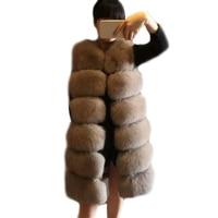 Fur Vest Women Long Vests Winter Thick Warm Faux Fox Furry Vest Fashion Luxury Coat Fur Jacket Vest Female Long Outerwear 4XL