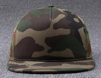 30pcs Summer Camouflage Mesh Flat Bill Snapback Caps For Men Spring Flat Brimmed Camo Net Hats