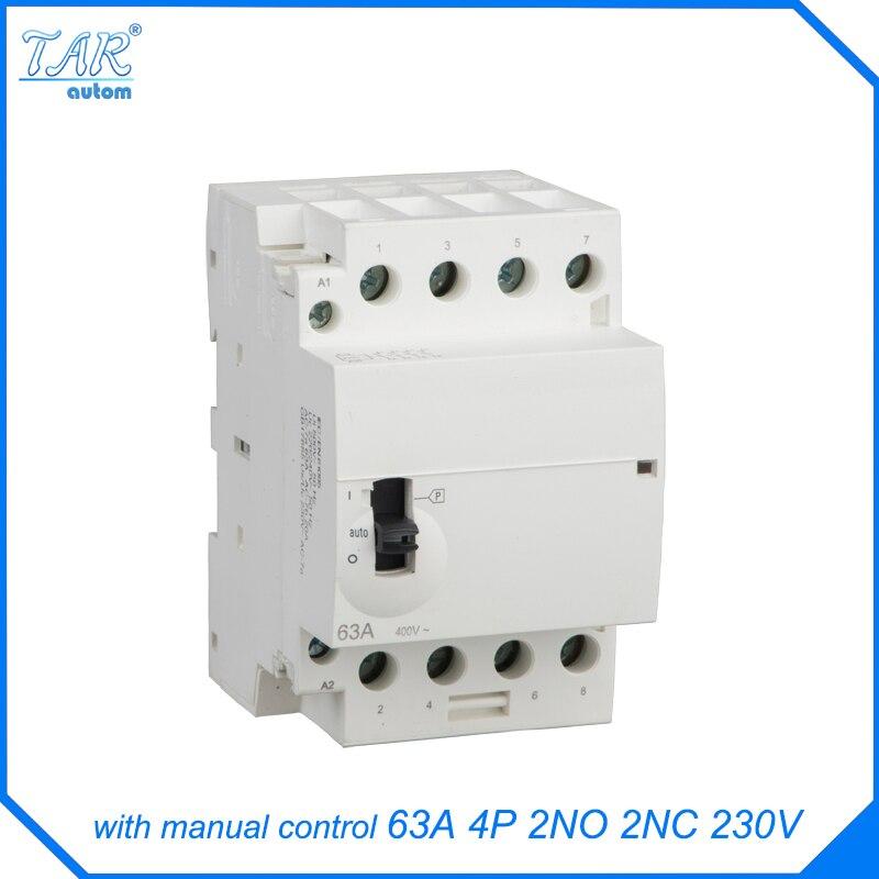 63A High Quality WCT 4P 63A 400V 50/60HZ Din Rail Household AC Contactor 2NO 2NC Manual Control Contator household 4 pole 2no 2nc ac power contactor modular coil ac 400v 63a
