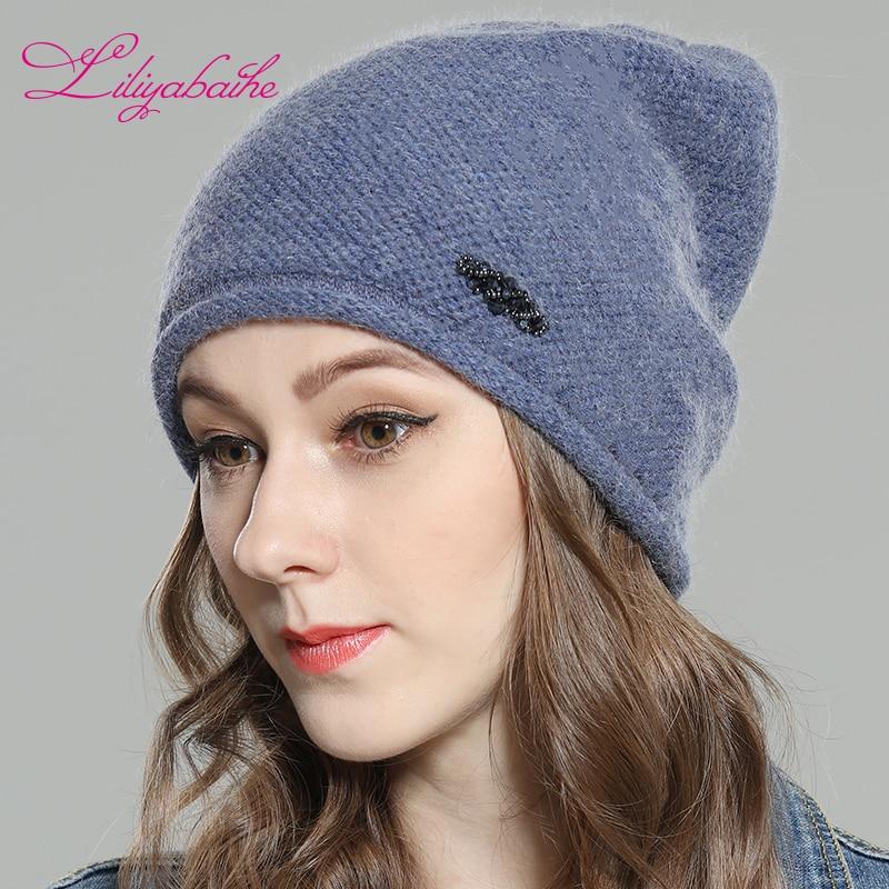 LILIYABAIHE Women Autumn And Winter Hat Angora Knitted Skullies Beanies Cap Color Matching Diamond Decoration Hats For Girls