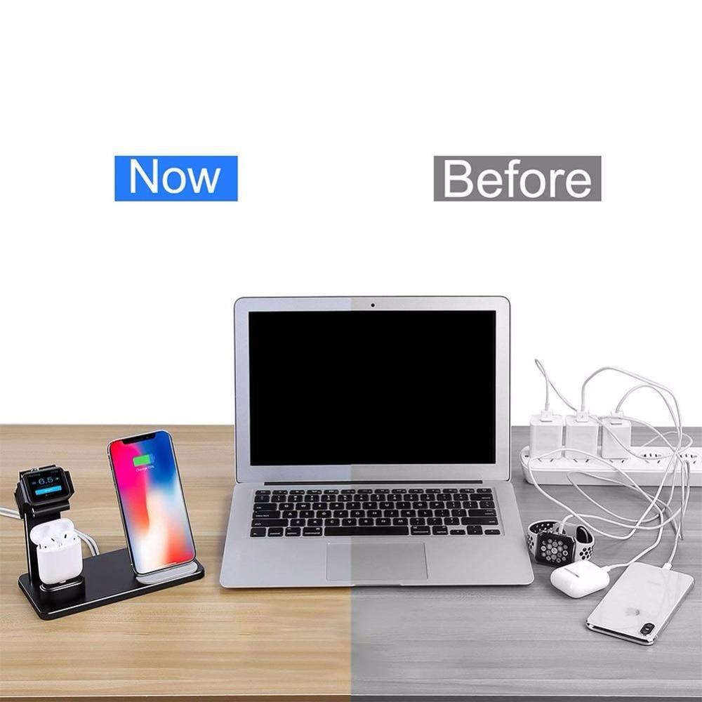 Support de charge sans fil 3 en 1 pour Apple Watch pour Station de recharge AirPods