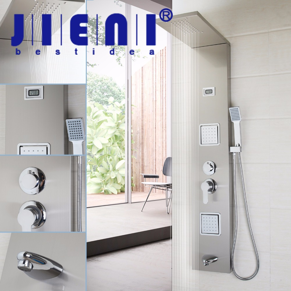 JIENI Wall Mounted Bathroom Shower Column One Handle +Hand shower+Tub Spout+Massage System Shower Panel