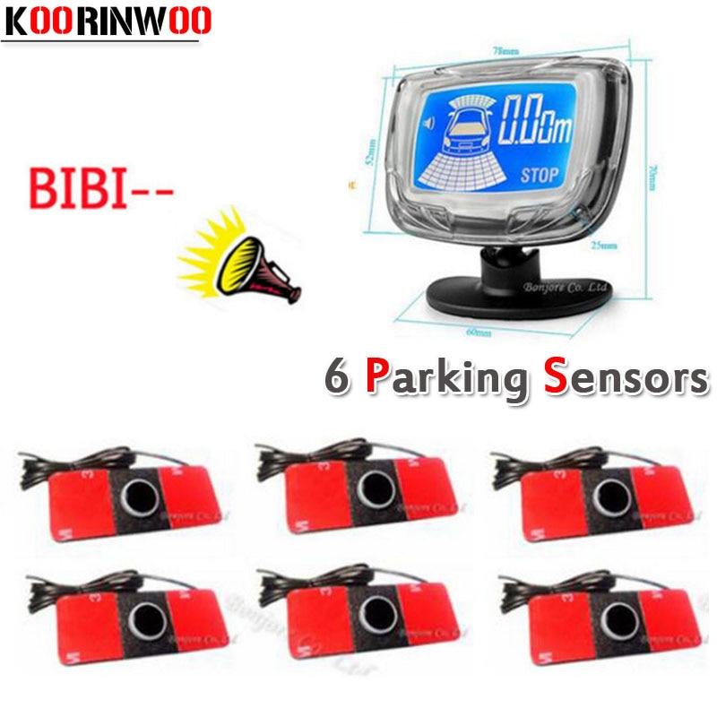 KOORINWOO Auto Lcd Monitor 16 5mm Car Parking Sensor 6 Radars Auto Detector Front Rear Parktronic