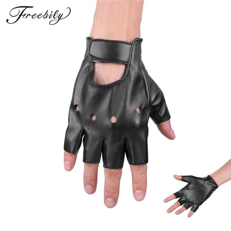 1 Pair Mens Fashion PU Leather Half Finger Driving Gloves Fingerless Gloves For Men Black Color Wholesale