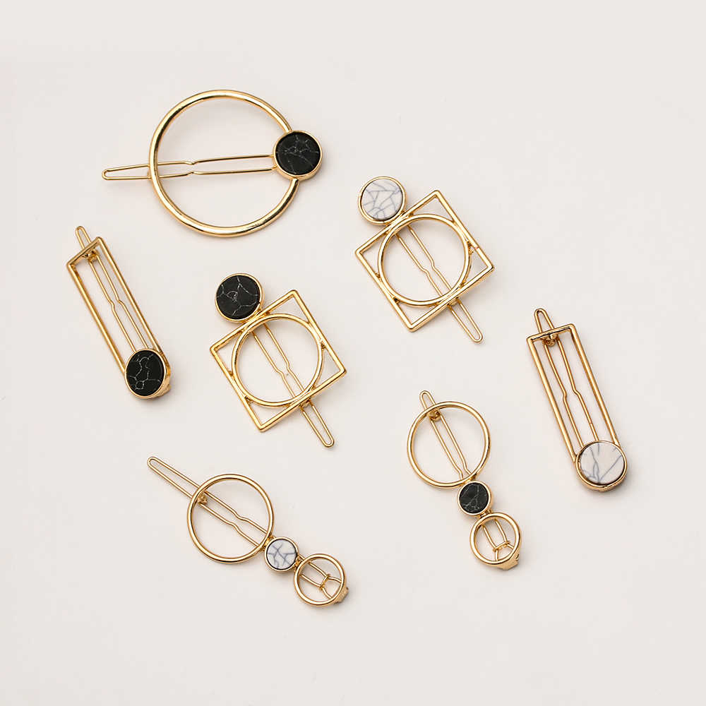 1Pcs Minimalism Geometric Metal Hairpins Round Rectangle Shape Acrylic Hair Clips for Women Girls Hair Styling Accessories