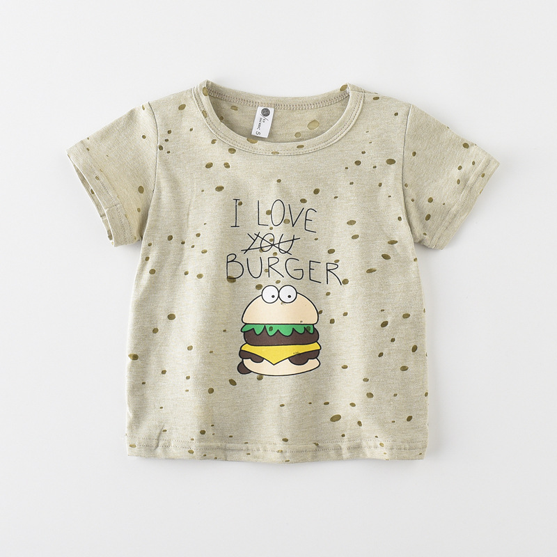 2018 brand baby kids boys Hamburger printing summer tshirts boy girl tops and tees t shirt enfant girls t-shirt,free shipping
