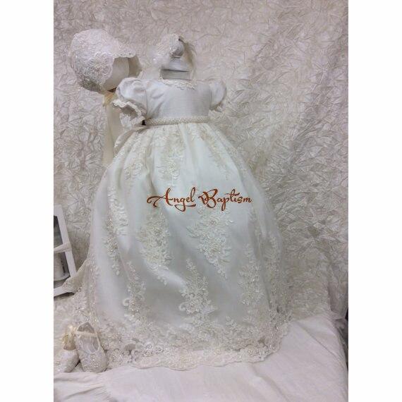 Блестящие длинные на крестины шику бисером для маленьких девочек благословение платье с кружевной аппликацией для крещения халат с капот ж