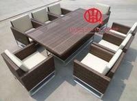 Outdoor stijlvolle rotan eetkamer set tafel en stoelen  plastic weven rotan eetkamer tafel met 8 stoelen  eetkamer kamer set