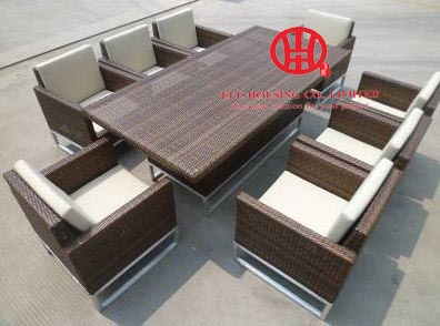 Outdoor Stylish Rattan Dinning Set Table And Chairs,plastic Weaving Rattan Dining Room Table With 8 Chairs,dining Room Set