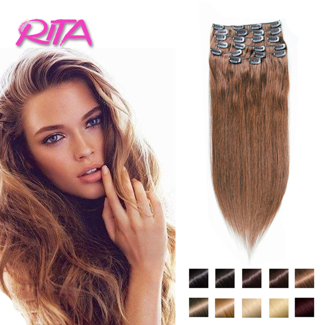 Color 6 Rita Clip In Human Hair Extensions 70 200g Chestnut Brown