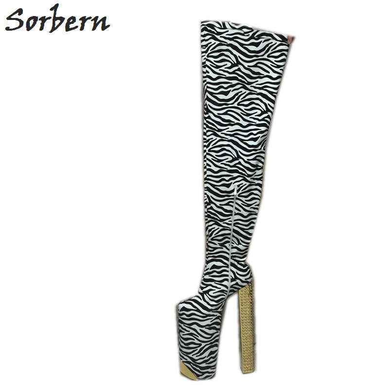 Sorbern Exqusite Zebra Tigh High Women Boots Customized 35cm Heel Height  With Thick Platform 25cm Square 3efa579ffe5f