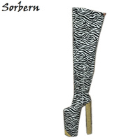 Sorbern Exqusite Zebra Tigh High Women Boots Customized 35cm Heel Height With Thick Platform 25cm Square High Heels Studs Heel