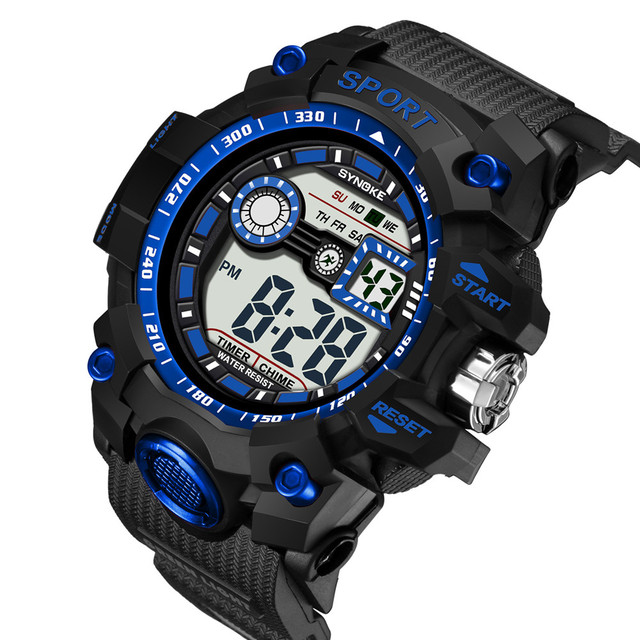 SYNOKE Multi-Function 50M Waterproof Watch LED Digital Double Action Watch women sport watch silicone electronic watch sport