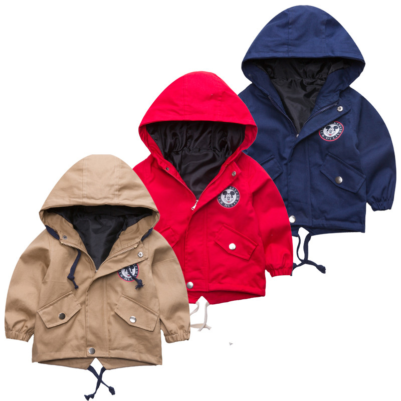 2018 New Boys Girls Jackets For Children Hooded Cute Mickey Windbreaker Kids Coats Baby Clothes Spring Outerwear Coat Clothing 2018 girls spring autumn trench jackets coats new children s zipper hooded long jacket coat kids windbreaker outerwear clothing