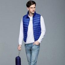 Купить с кэшбэком Man Solid Plus Size Spring 100% White Duck Down Vests Male Oversized Autumn Warm White Duck Down Outerwear Men Duck Down Jackets