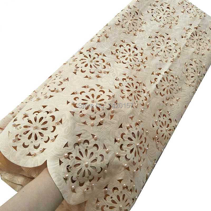 Cream Lovely Korea Handcut Lace Lilac Beaded African Lace Fabric With Allover Cutout Holes Stones High