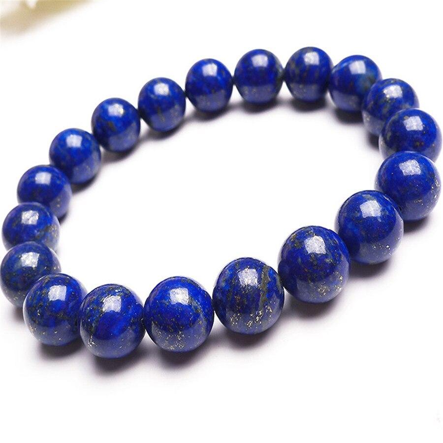 Новое прибытие 10.5mm Подлинная Синий Золото лазурит шарма круглые бусины ювелирных изделий Женщины Femme Натяжные природного камня Браслеты